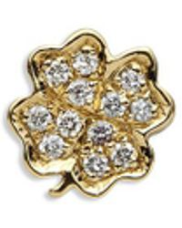 Loquet London - 18k Yellow Gold Diamond Four Leaf Clover Charm - Luck - Lyst