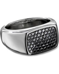 David Yurman Diamond Pavé Silver Signet Ring - Metallic