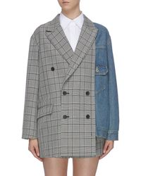 The Keiji Denim Panel Check Plaid Double Breasted Blazer - Blue