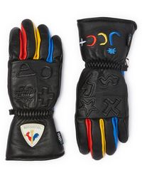 Rossignol X Jcc Colourblock Logo Embroidered Leather Gloves - Multicolor