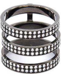 Repossi 'berbère' Diamond 18k Black Gold Three Row Phalanx Ring