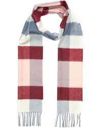 Johnstons Block Check Print Cashmere Scarf - Multicolor