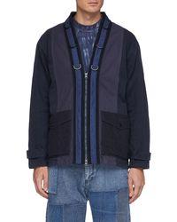 FDMTL Flap Pocket Zip Up Cotton Miliary Haori Jacket - Blue