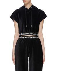T By Alexander Wang Branded Elastic Trim Short Sleeves Corduroy Hoodie - Black