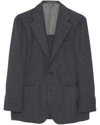 Ring Jacket Basketweave Wool Blazer - Grey