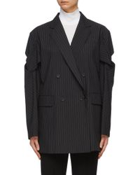 The Keiji Lattice Sleeve Oversized Pinstripe Blazer - Black