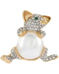 Kenneth Jay Lane - Glass Crystal Pearl Pig Pin - Lyst