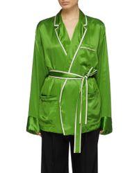 Haider Ackermann Contrast Border Sash Belted Silk Pajama Shirt - Green