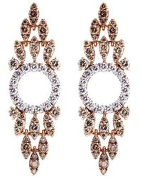 FerrariFirenze 'sole' Diamond 18k Rose Gold Marquise Drop Earrings - Metallic