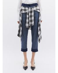 Hellessy 'sentry' Check Plaid Waist Panel Cropped Jeans - Blue