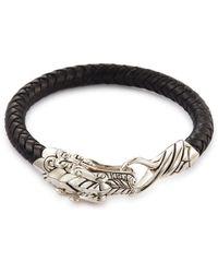 John Hardy - 'legends Naga' Silver Braided Leather Bracelet - Lyst