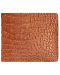 Jean Rousseau 'hipster' Alligator Leather Bi Fold Wallet - Brown