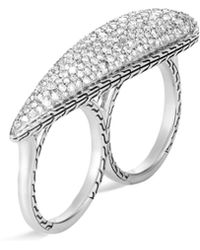 John Hardy 'classic Chain' Diamond Silver Two Finger Ring - Metallic
