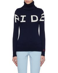 Turtleneck Wool Slogan Lyst Perfect Sweater Merino Intarsia Moment 'ride' 7wYxZvqUR