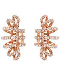 Dauphin Diamond 18k Rose Gold Clip Earrings - Metallic