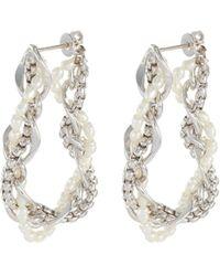 OLIVIA YAO Twisted Freshwater Pearl White Gold Plated Chain Hoop Earrings - Metallic