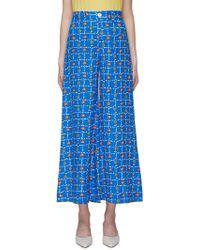 STAUD 'plum' Print Linen Wide Leg Pants - Blue