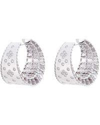 Roberto Coin - 'princess' Diamond 18k White Gold Hoop Earrings - Lyst