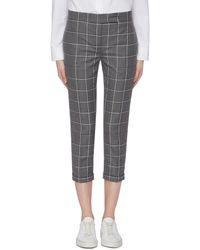 Thom Browne - Cropped Windowpane Check Wool Twill Skinny Suiting Pants - Lyst