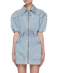 C/meo Collective 'overturn' Puff Sleeve Cinch Waist Zip Up Denim Mini Dress - Blue