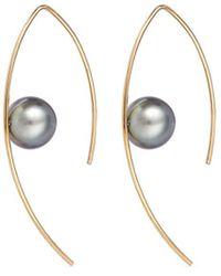 Mizuki - Small Tahitian Pearl 14k Gold Marquise Hoop Earrings - Lyst