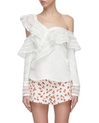 05395163a713fe Lyst - Self-Portrait Ruffle Broderie Anglaise Top in White