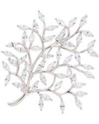 CZ by Kenneth Jay Lane Cubic Zirconia Tree Brooch - White