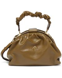 MANU Atelier Ruched Demi' Top Handle Leather Bag - Green