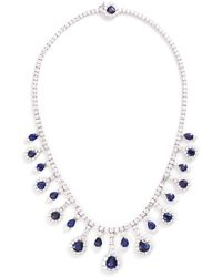 LC COLLECTION - Diamond Sapphire Platinum And Silver Necklace - Lyst