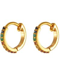 Shana Gulati 'fleron' Sapphire Ruby Emerald 18k Gold Vermeil Loop Earrings - Metallic