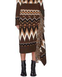 Sacai - Fringe Drape Side Fair Isle Jacquard Skirt - Lyst
