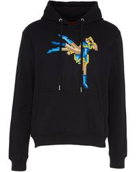 Mostly Heard Rarely Seen - Textured Kicking Fighter Print Unisex Hoodie - Lyst