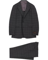 Ring Jacket Notch Lapel Check Plaid Tropical Wool Suit - Gray