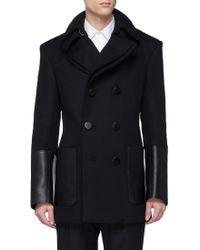 Alexander McQueen - Detachable Placket Leather Cuff Virgin Wool Melton Peacoat - Lyst