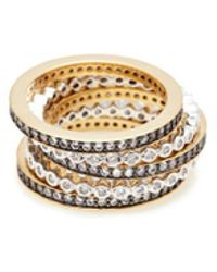CZ by Kenneth Jay Lane - Cubic Zirconia Scalloped 5-ring Set - Lyst