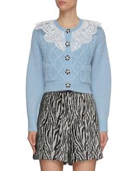 Self-Portrait Lace Collar Crop Knitted Cardigan - Blue
