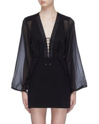 Dion Lee - Panelled Lace-up Front Crepe Dress - Lyst