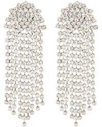 Kenneth Jay Lane Glass Crystal Cluster Waterfall Drop Clip Earrings - Metallic