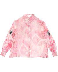 Angel Chen X Jiajia Wang Abstract Print Sheer Shirt - Pink