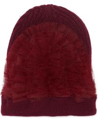Bernstock Speirs Tulle Wool Chunky Knit Beanie - Red