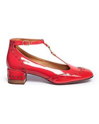 Chloé 'perry' T-bar Patent Leather Ballerina Brogue Pumps - Red