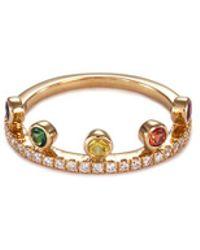 Khai Khai - 'crown' Diamond Gemstone 18k Yellow Gold Ring - Lyst