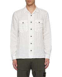 Stone Island Garment-dyed Canvas Shirt - White