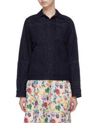 Ms Min - Patch Pocket Raw Denim Jacket - Lyst