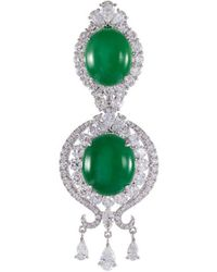 LC COLLECTION - Diamond Jade 18k White Gold Pendant - Lyst