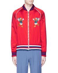 Gucci Donald Duck Appliqué Silk Satin Souvenir Jacket - Red