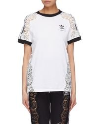 Stella McCartney - X adidas 3-Stripes sleeve lace panel T-shirt - Lyst