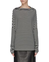 Norma Kamali 'all-in-one' Convertible Stripe Jersey Long Sleeve T-shirt - Black