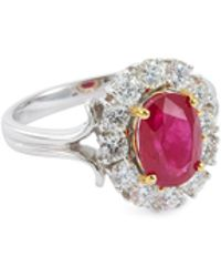 LC COLLECTION - Diamond Ruby 18k Gold Ring - Lyst