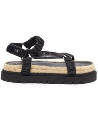 3.1 Phillip Lim Noa' Ruched Leather Strap Platform Sandals - Black